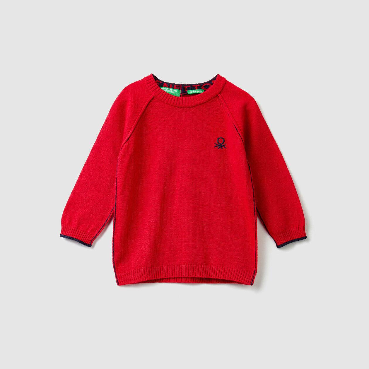 Pull col rond en coton et laine