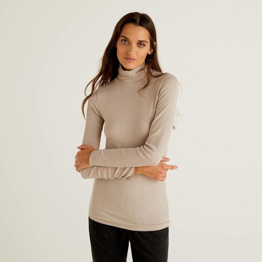 Rollkragen-T-Shirt aus gemischtem Cashmere