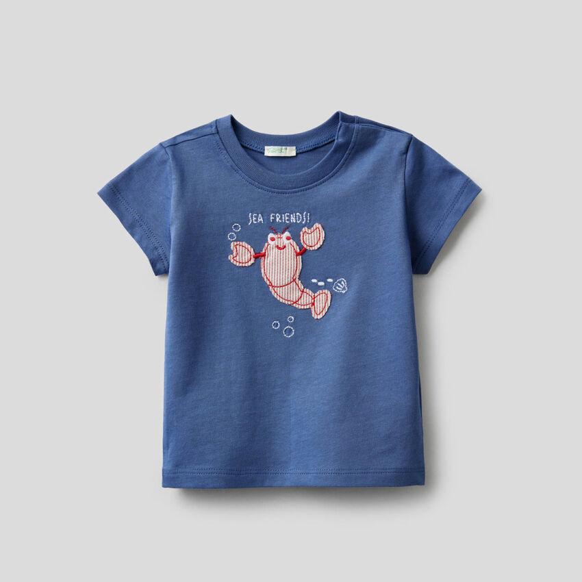T-shirt in cotone biologico con ricamo
