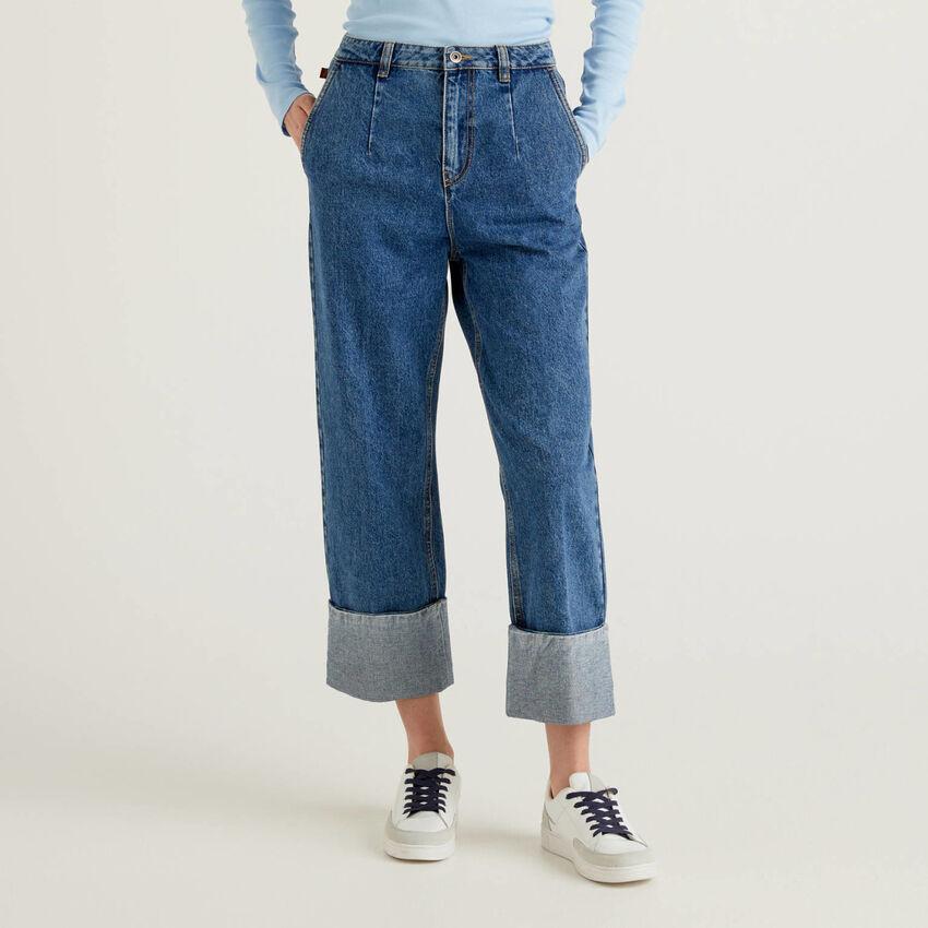 Jeans 100% coton à large revers