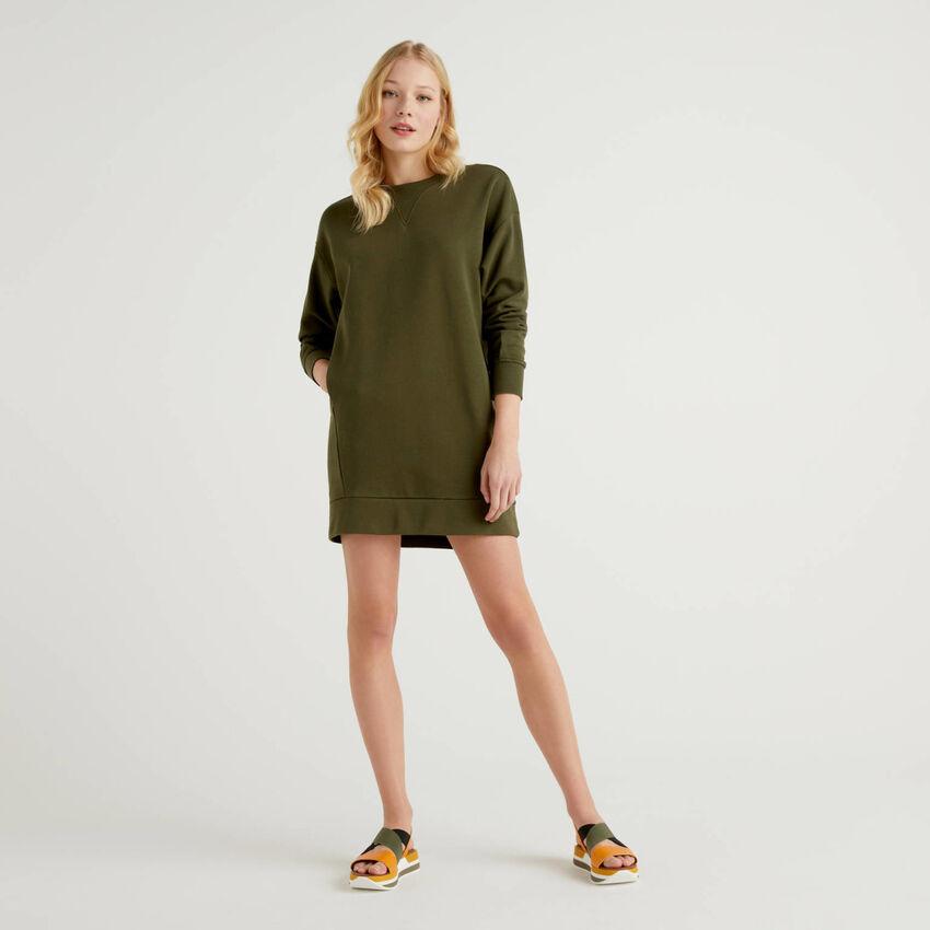 Kleid aus Sweatstoff in 100% Baumwolle