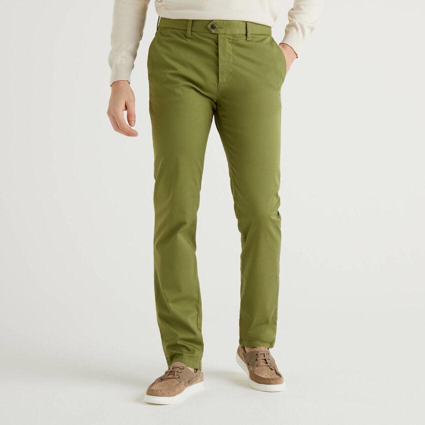 Chino stretch slim fit verde militare