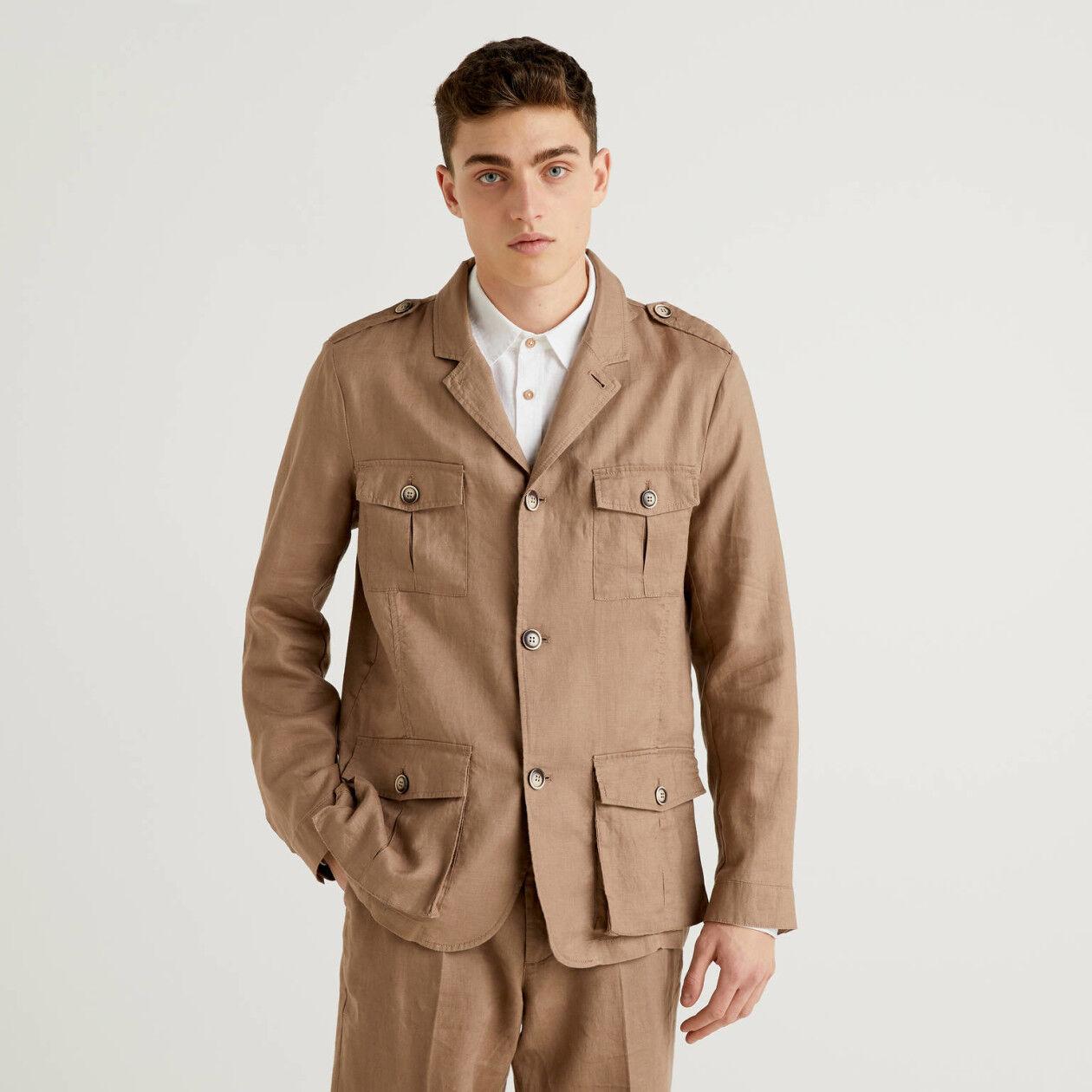 Jacke aus reinem Leinen mit Taschen
