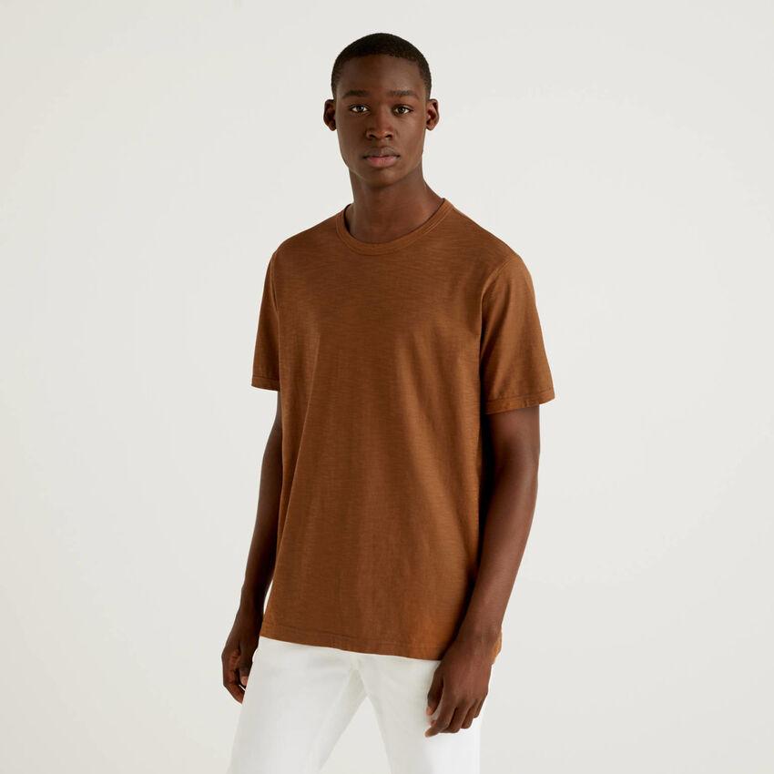 T-shirt marron 100% coton avec imprimé