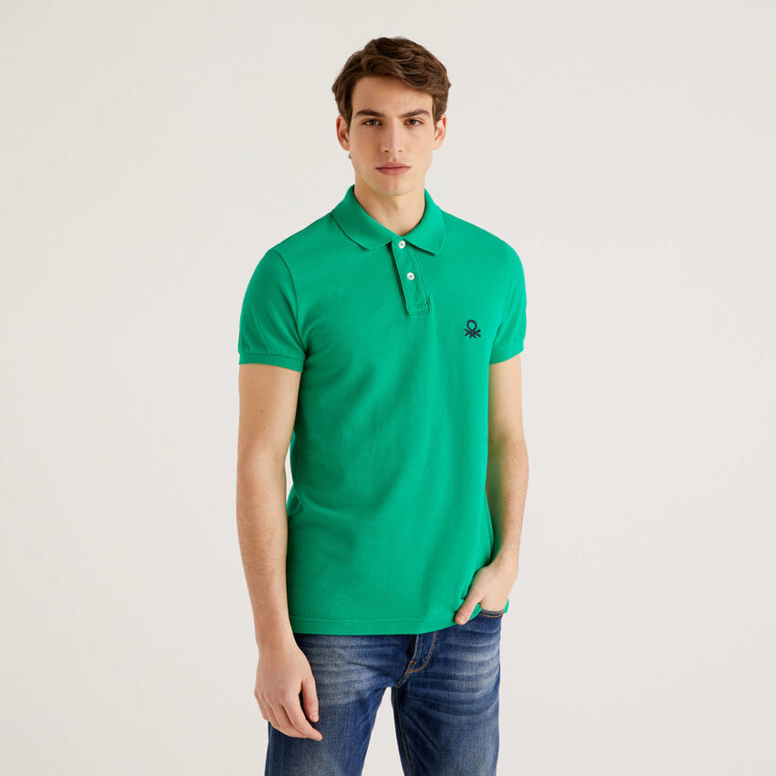 Green slim fit polo