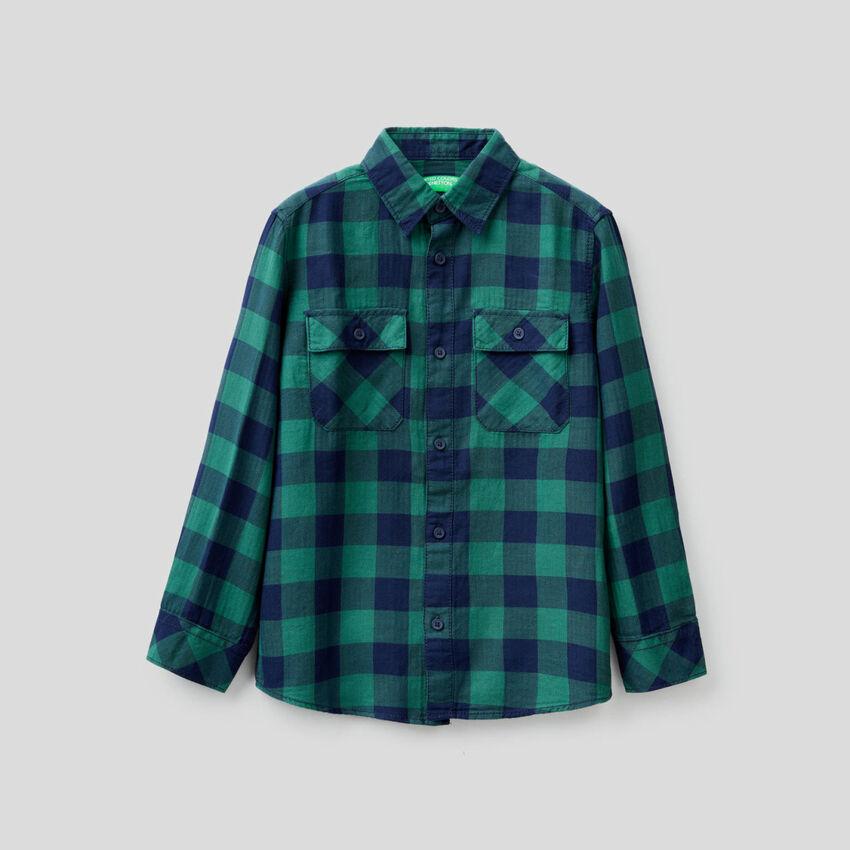 Chemise à carreaux en 100% coton