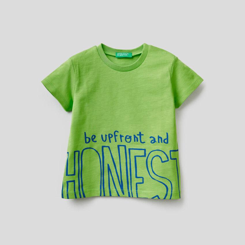 T-shirt in cotone con slogan