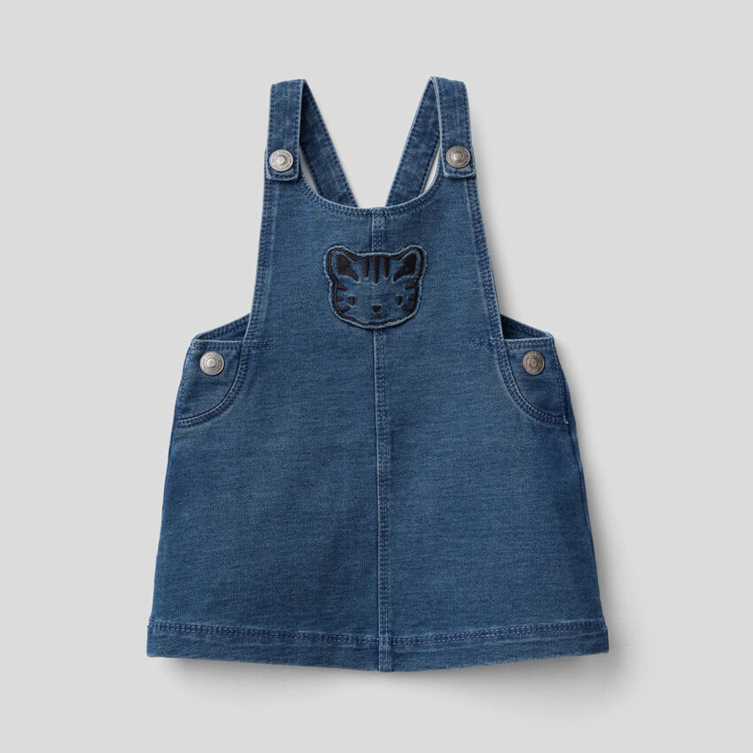 Overall dress in stretch sweat fabric