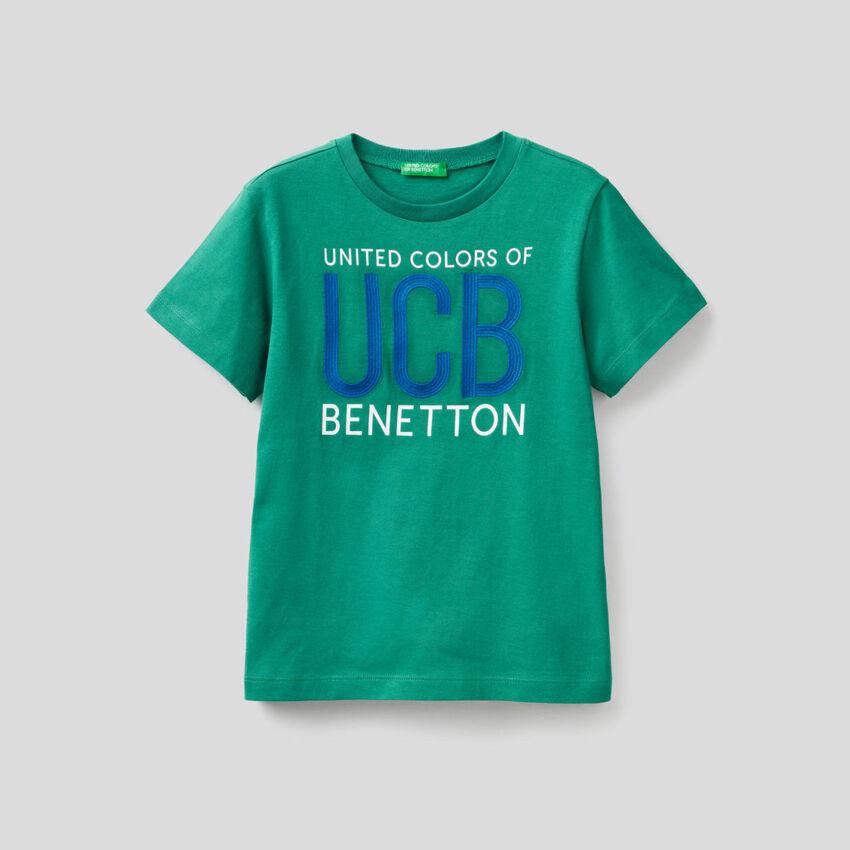 T-shirt 100% cotone con logo ricamato