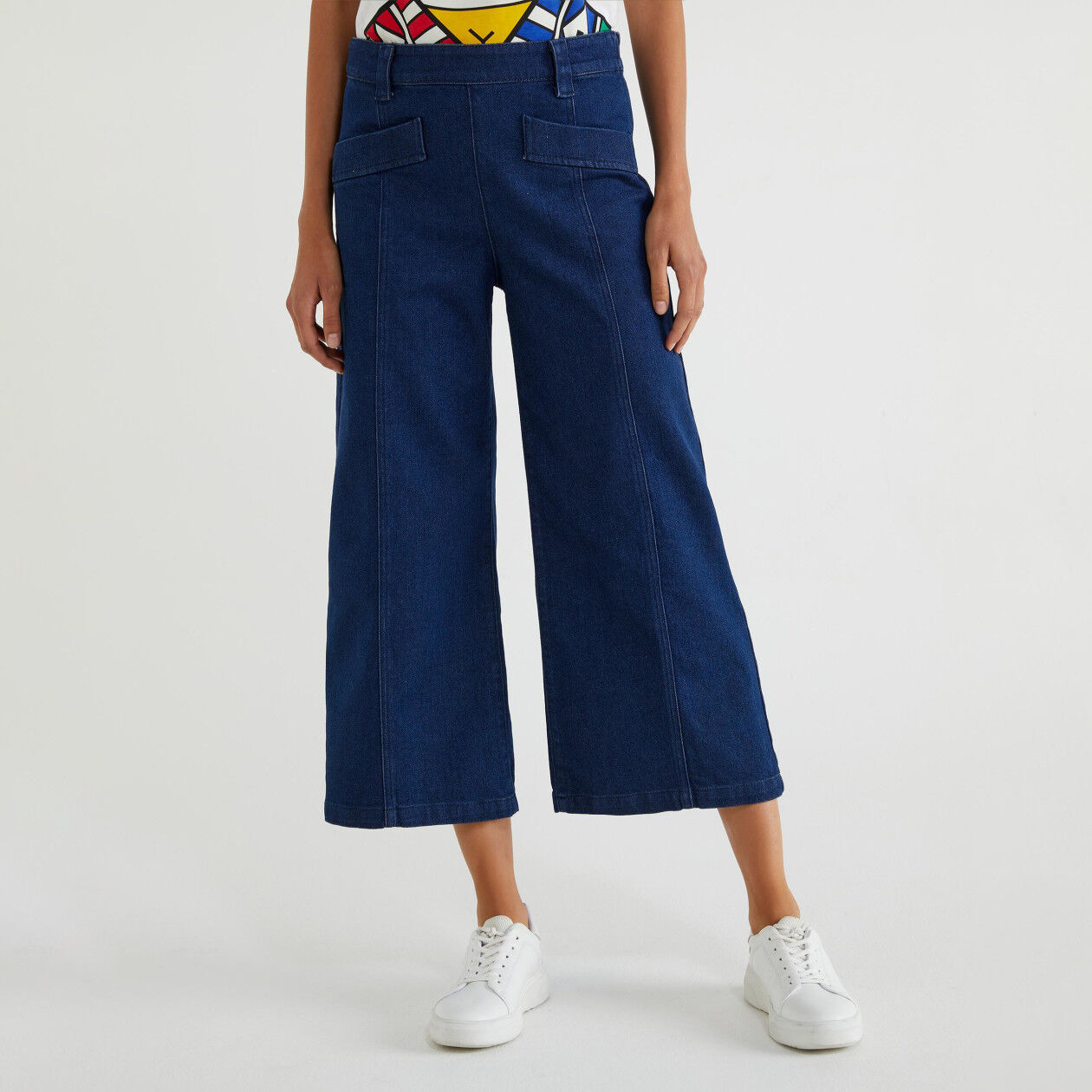Pantalon cropped en denim