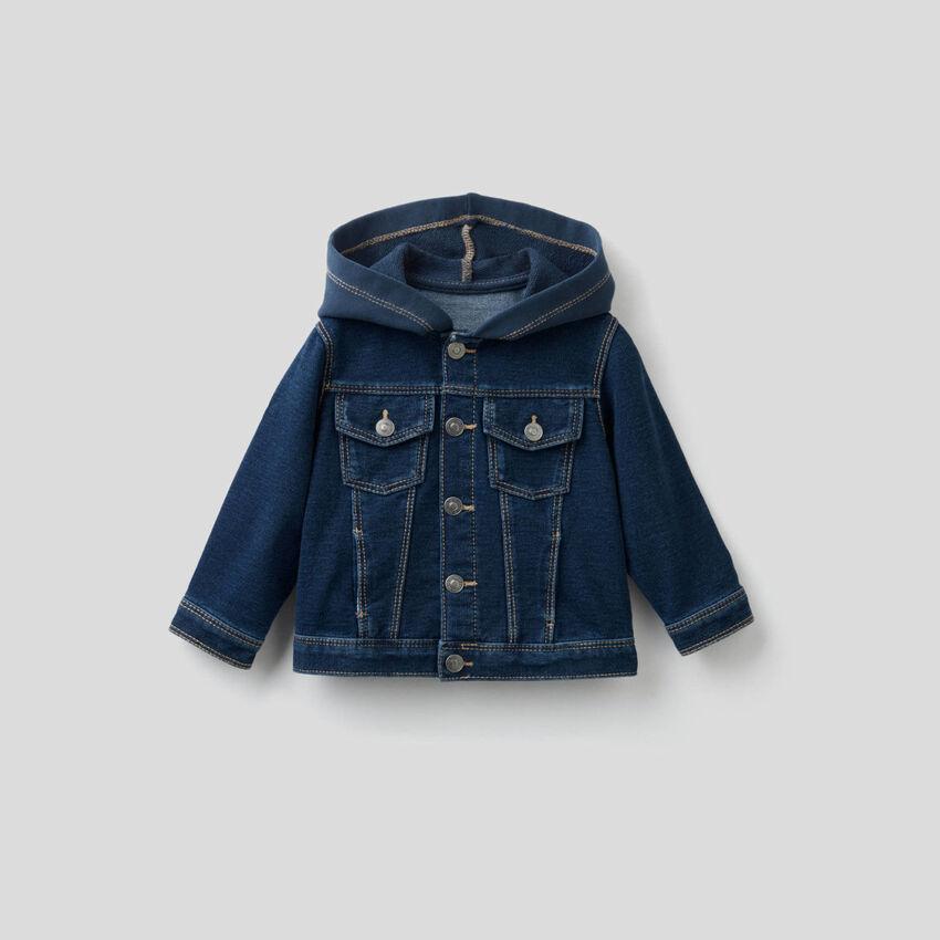 Jacke aus Sweatstoff mit Denim-Effekt