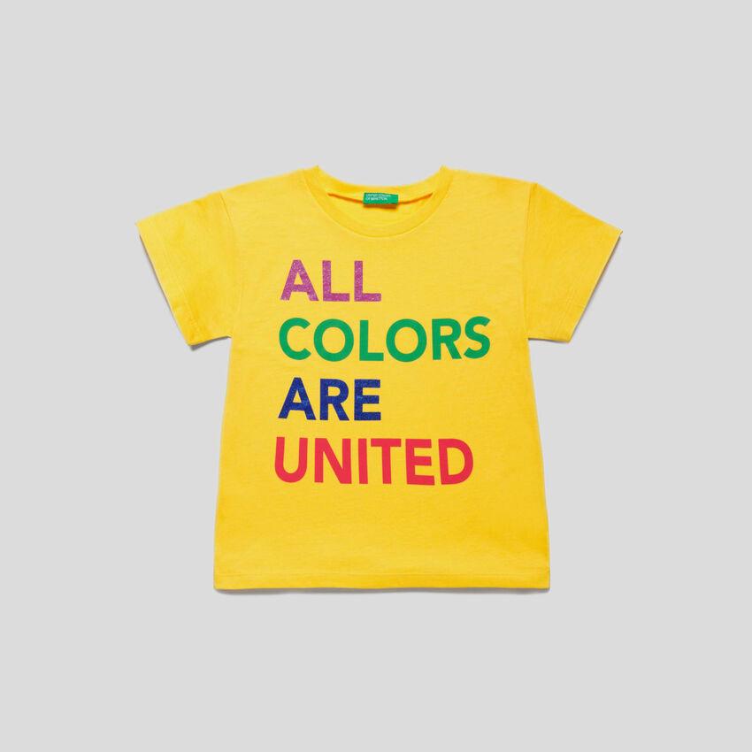 T-shirt con stampa logo multicolor