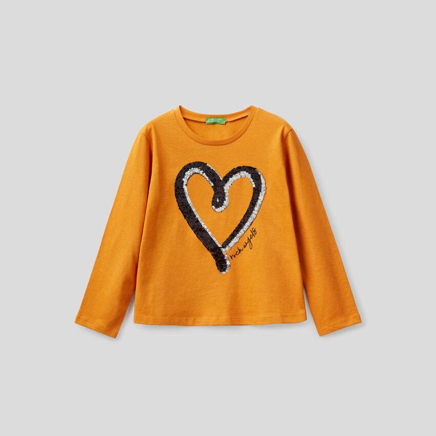 T-shirt 100% cotone con paillettes
