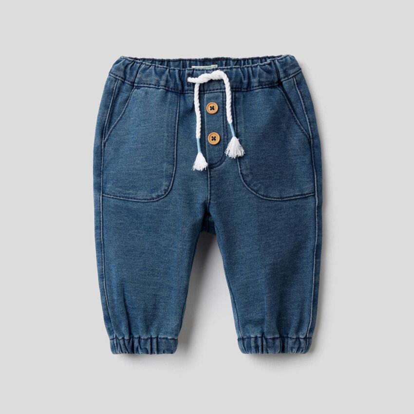 Pantaloni in felpa effetto denim