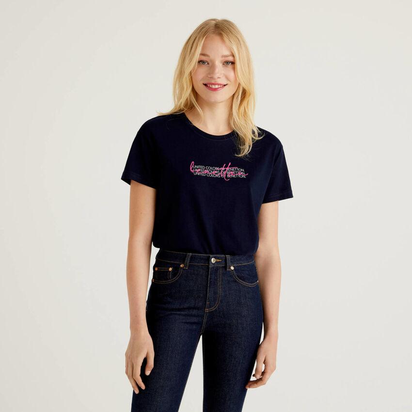 T-shirt 100% cotone bio con stampa logo