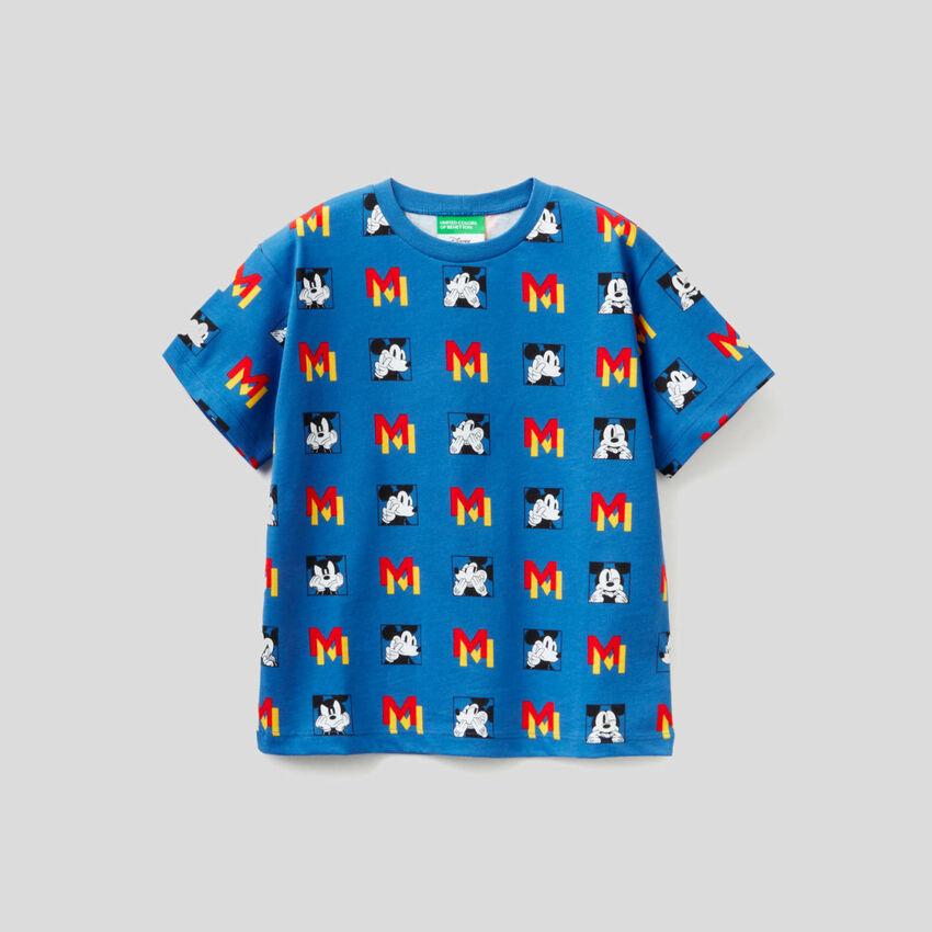 T-shirt bleu turquoise avec motif Mickey