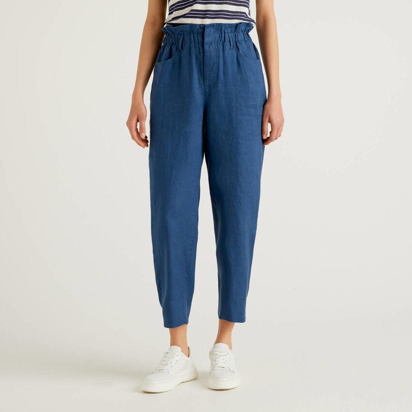Pantaloni in puro lino con vita arricciata