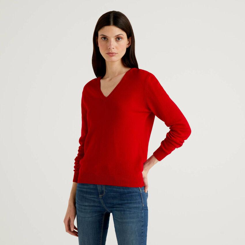 Maglia con scollo a V rossa in pura lana vergine