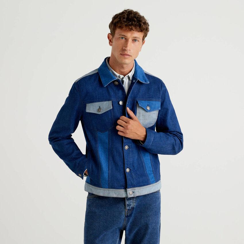 Jeansjacke mit Patchwork-Design