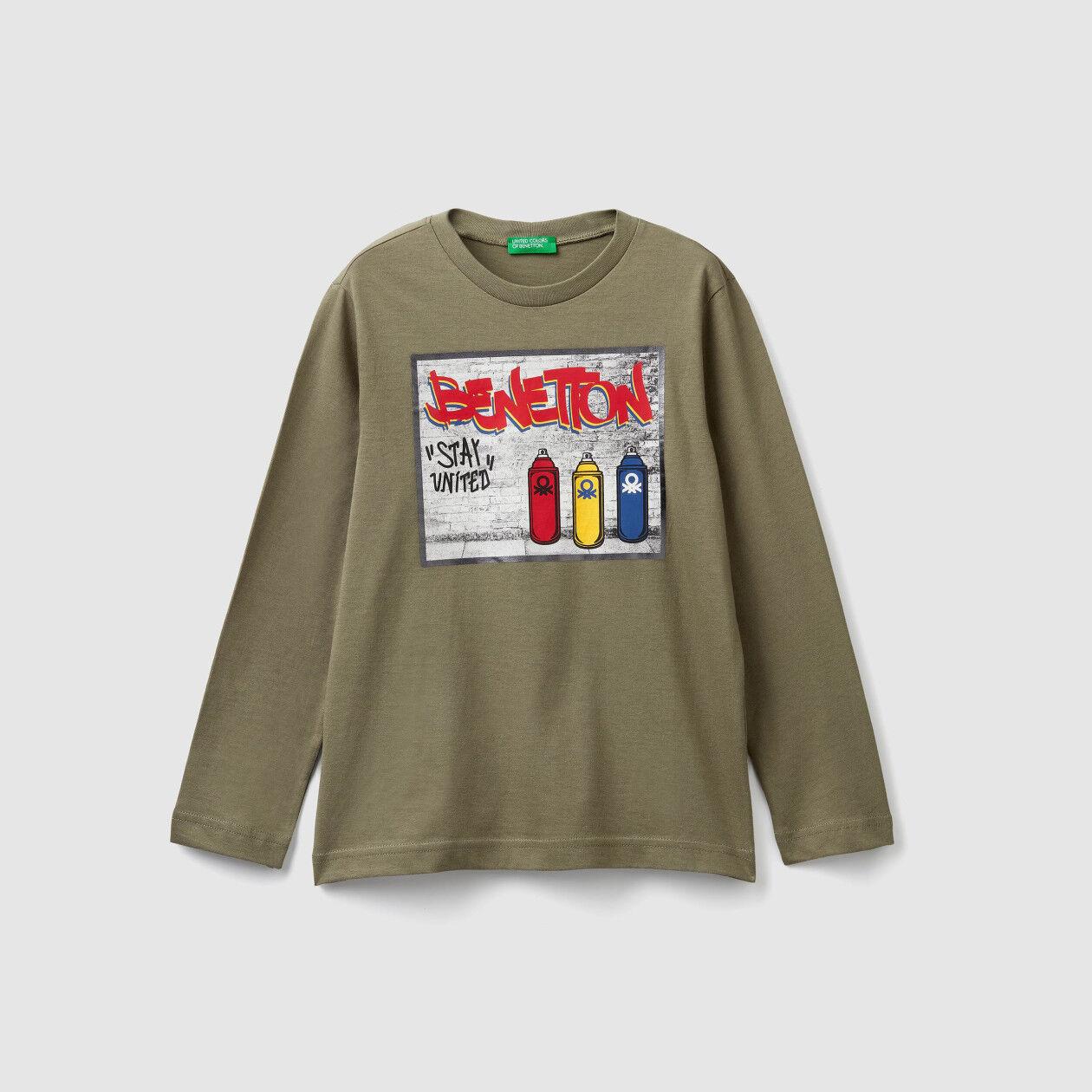 T-shirt con stampa laminata