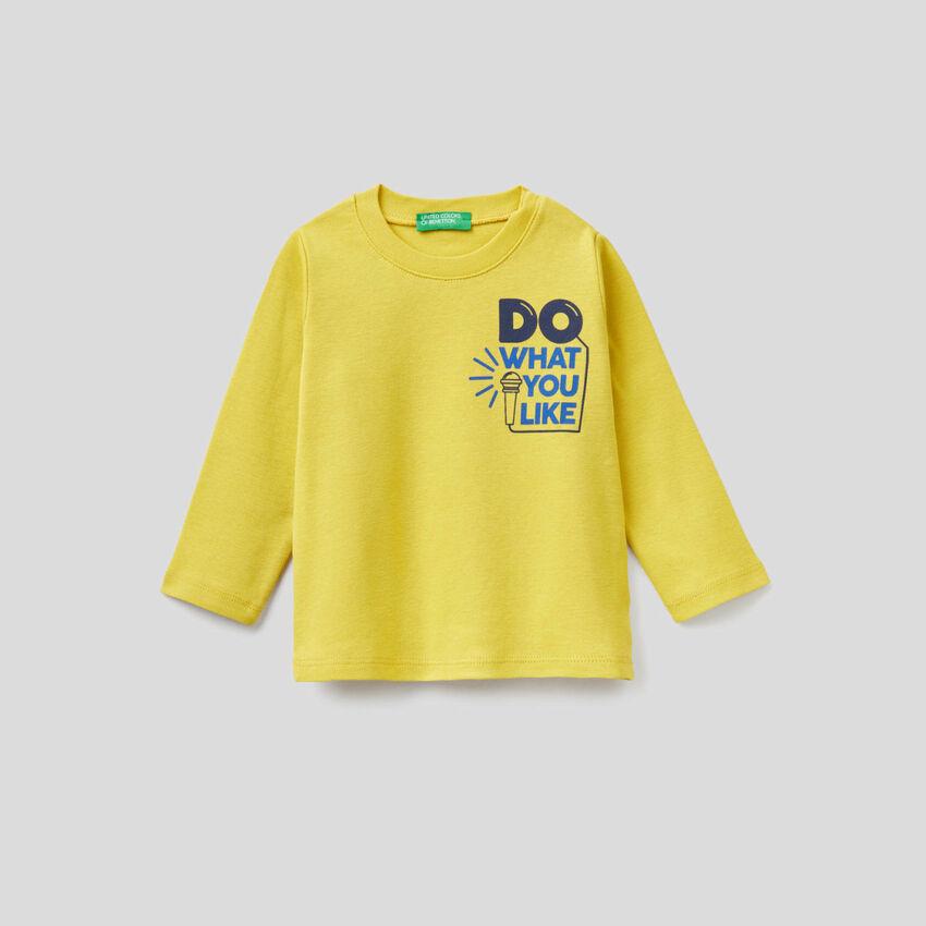 T-shirt manica lunga con stampa slogan
