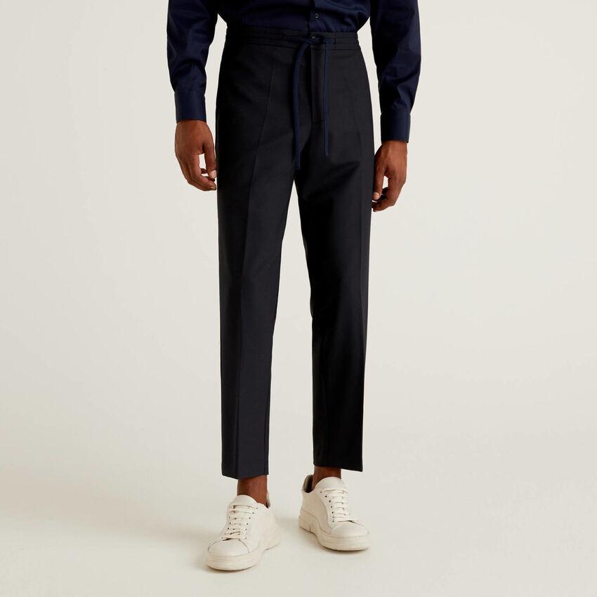 Pantaloni in fresco lana con coulisse