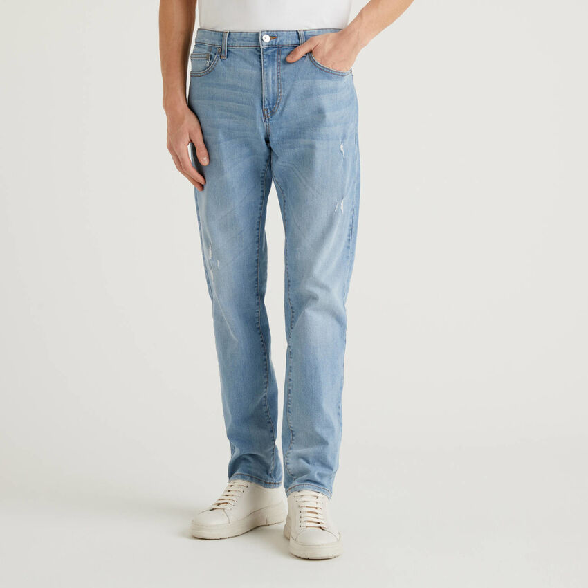 Jeans straight leg in cotone stretch