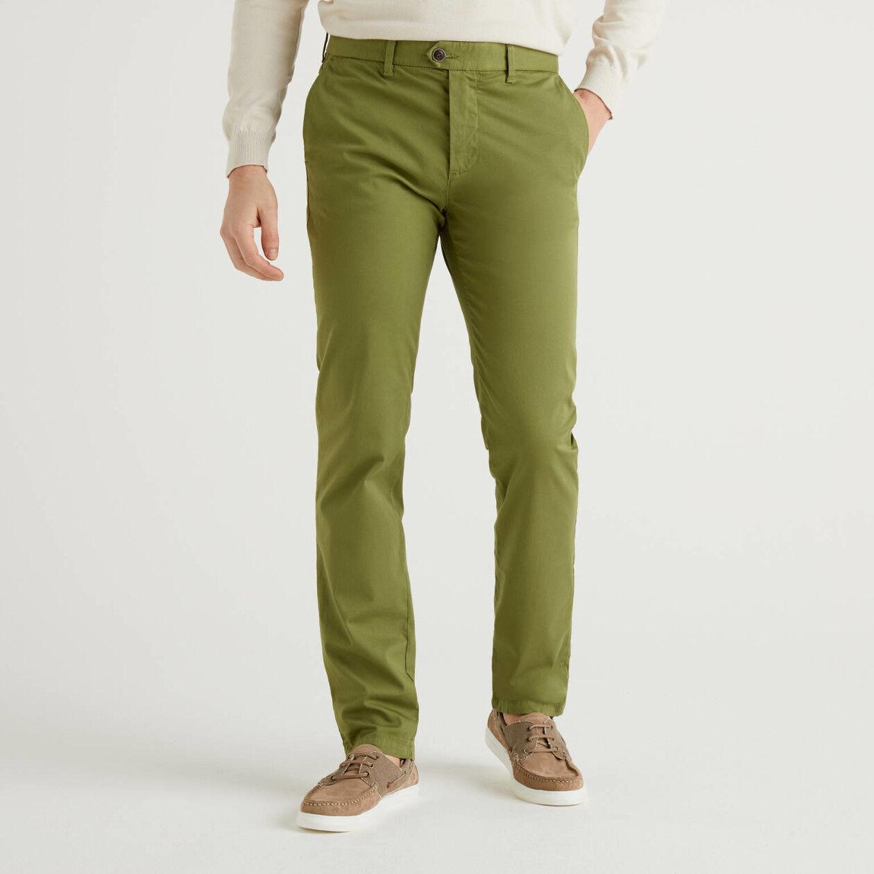 Chino stretch coupe slim vert kaki