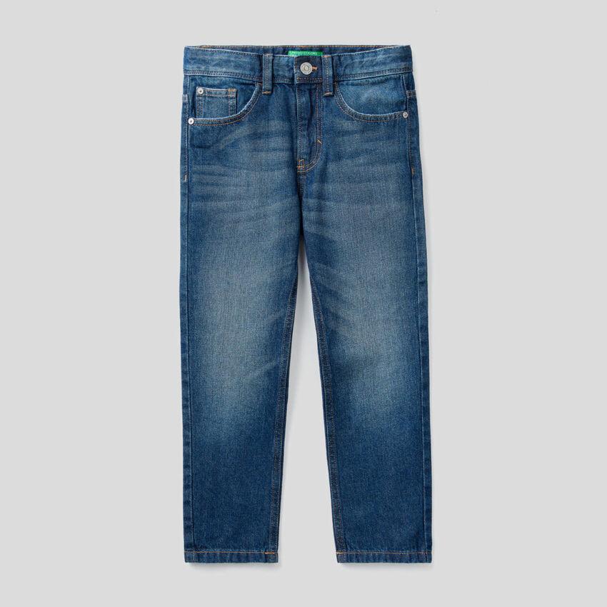 Straight leg 100% cotton denim jeans