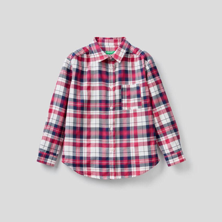 Chemise à carreaux en coton mélangé