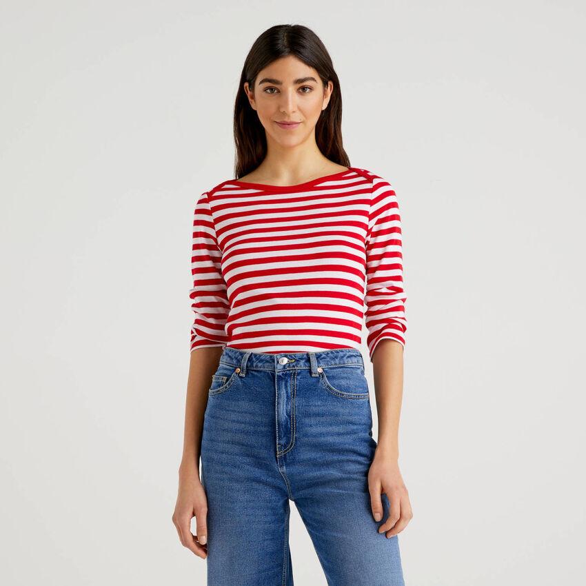 T-Shirt aus reiner Baumwolle mit 3/4-Ärmeln