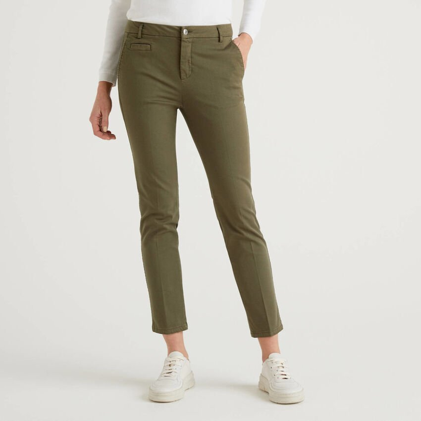 Army green slim fit cotton chinos