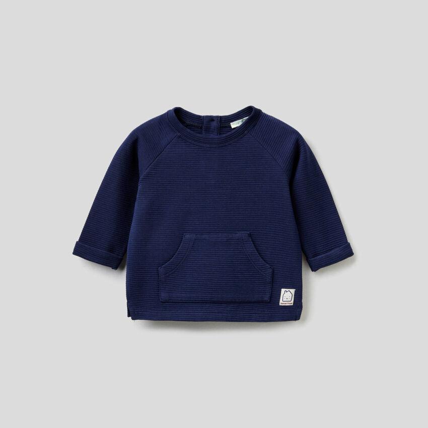 Sweatshirt in stretch organic cotton